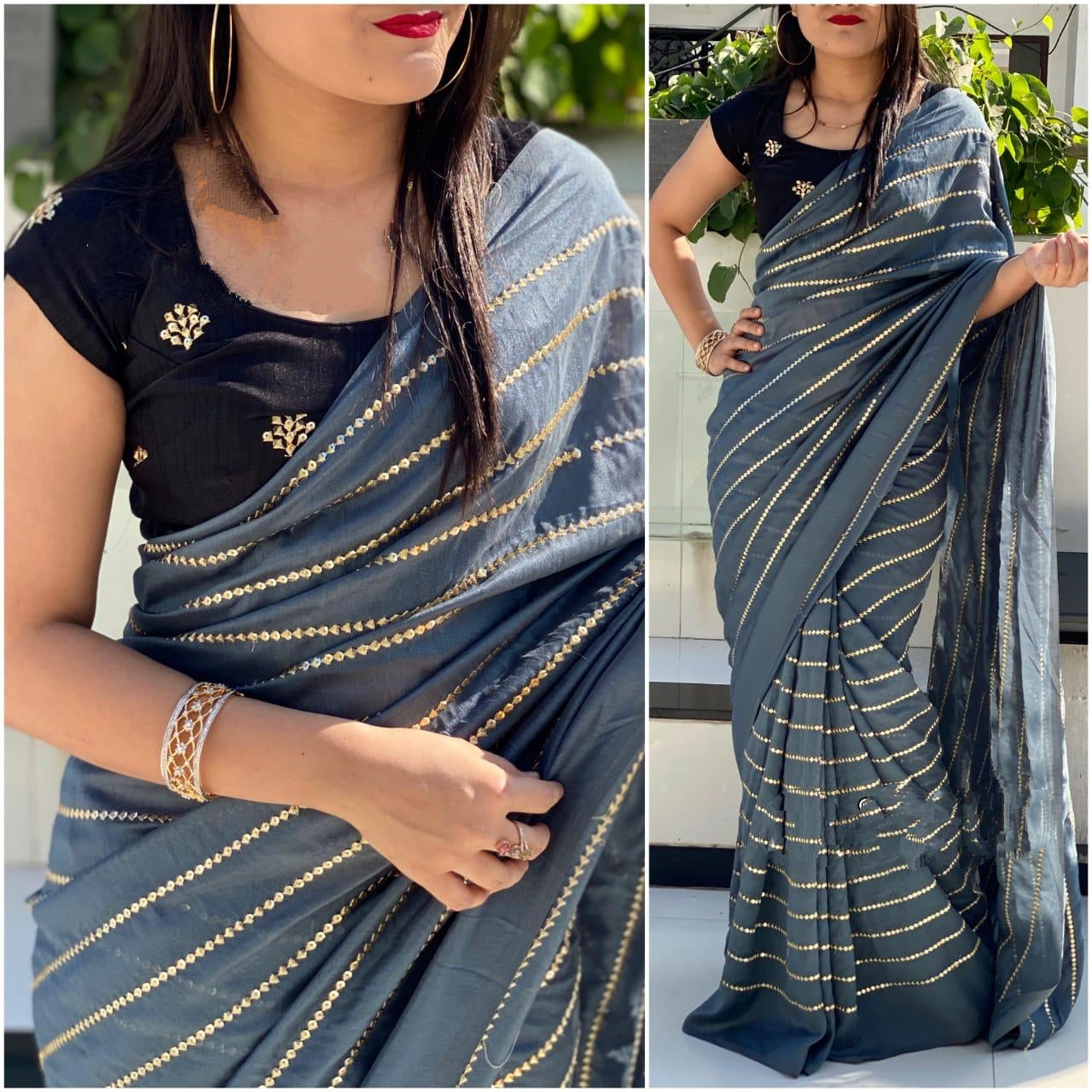 Exquisite Grey & Black Georgette With Embroidered Work Saree for Party Wear