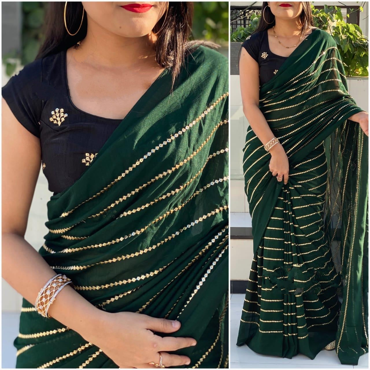 Bootylicious Dark Green & Black Georgette With Embroidered Work Saree for Party Wear