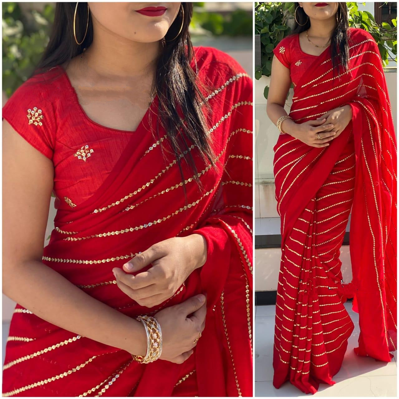Extraordinary Demanding Red Georgette With Embroidered Work Saree for Party Wear