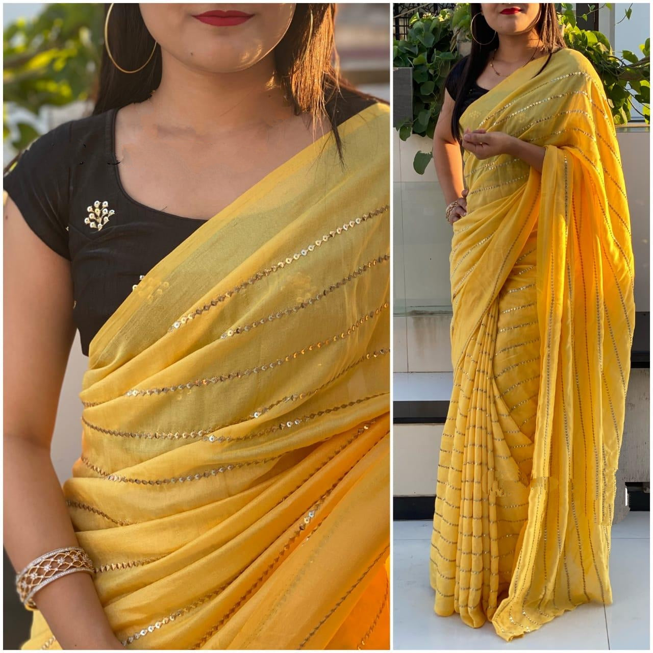 Staggering Yellow & Black Georgette With Embroidered Work Saree for Party Wear