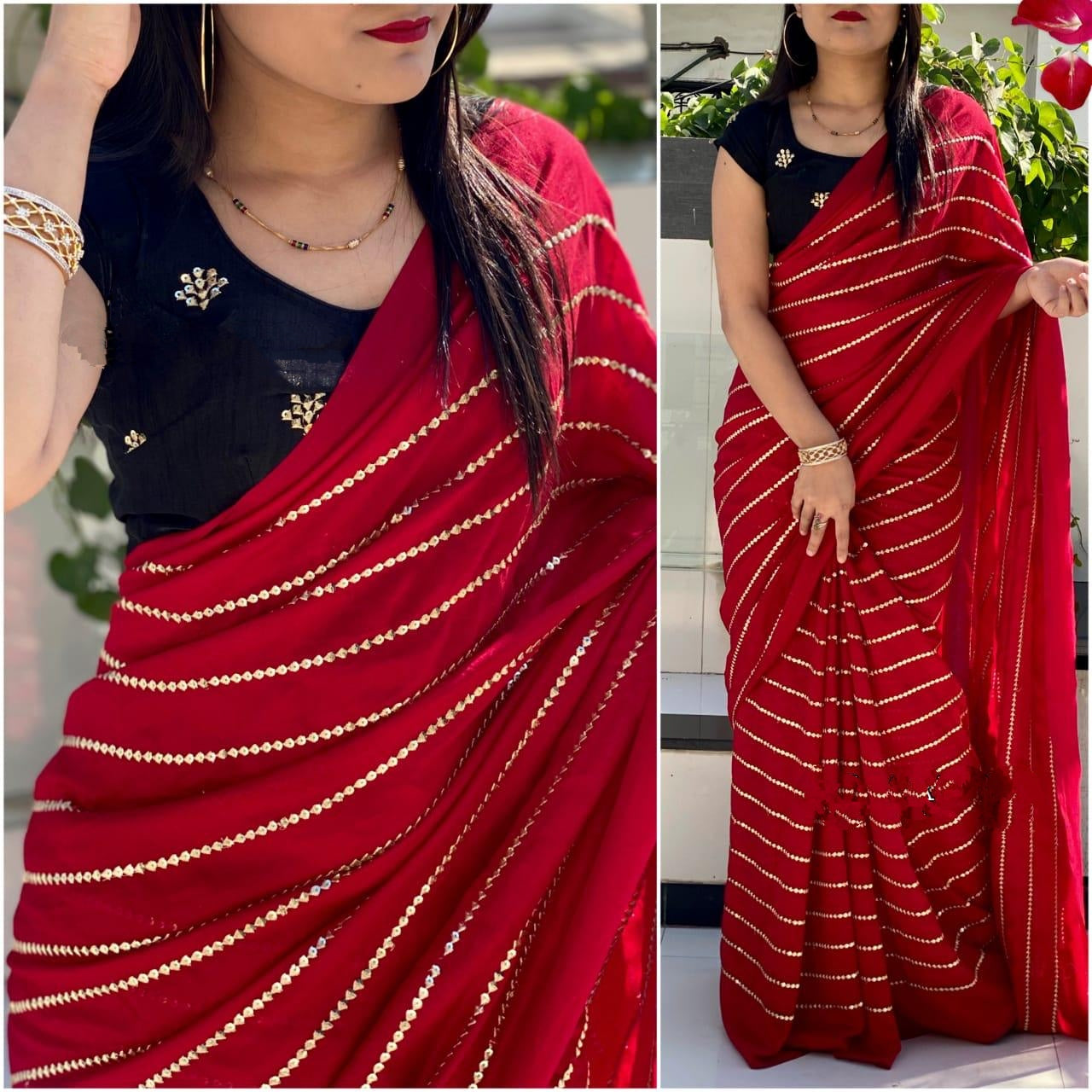 Pretty Dark Blue & Red Georgette With Embroidered Work Designer Saree Online