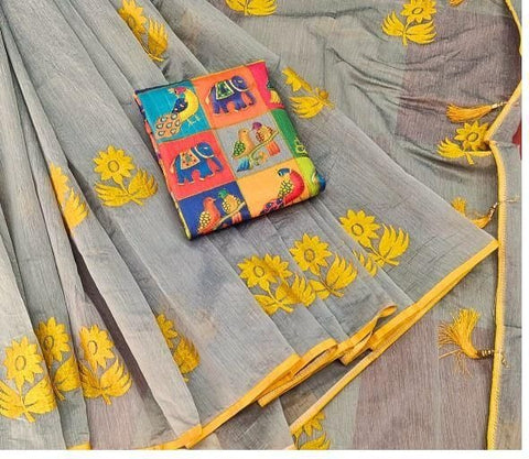 Glorious Grey & Yellow Chanderi Cotton With Zari Work Designer Saree Online