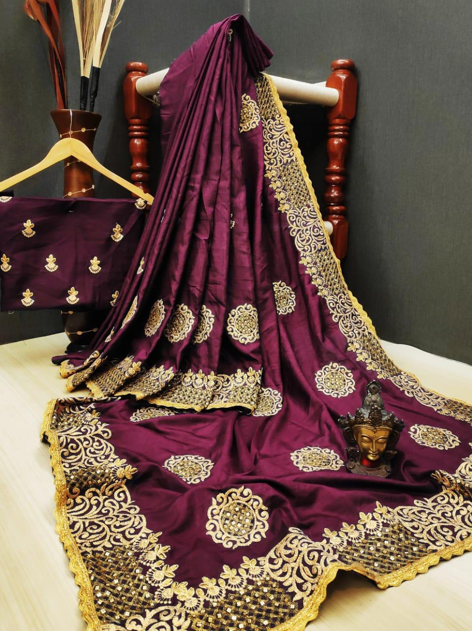 Smashing Wine Colored Silk With Diamond Embroidered Work Designer Saree Online