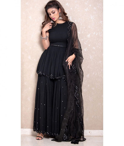 Astonishing Black Georgette With Embroidered Work Plazo & Kurti