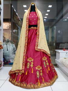 Wonderful Rani Colored Satin Silk With Embroidered Work New Lehenga Choli Design Online
