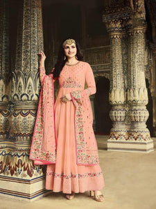 Bewitching Peach Silk With Diamond Embroidered Work New Salwar suit Design Online
