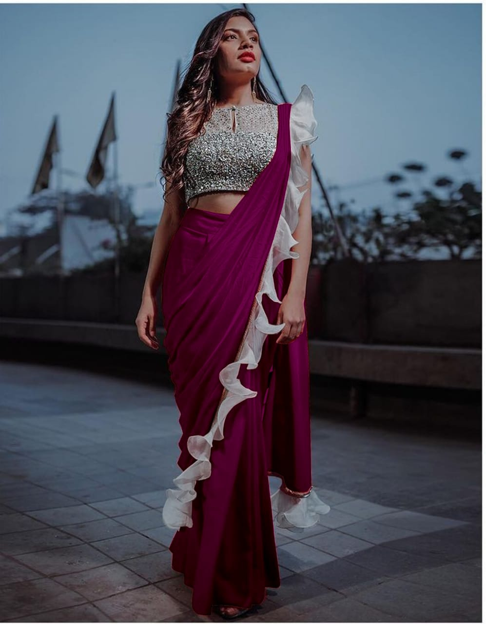 Exquisite Wonderful Wine Colored Silk Ruffle With Sequence Lace Designer Fancy Saree Online