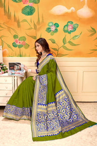 Beauteous Green Banarasi Kota Silk Wedding Wear Designer Fancy Saree Online