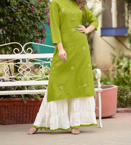 Pulchritudinous Green Rayon With Embroidered Ready Made Plazo Kurti