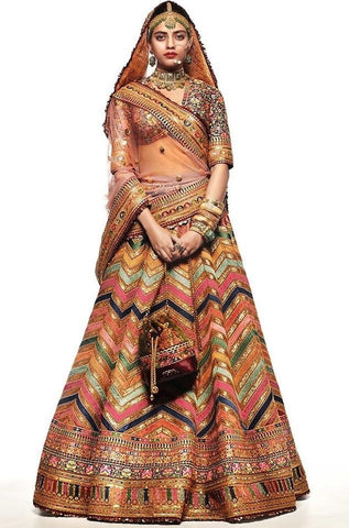 Phenomenal Multi Colored Zig Zag Gotta Satin Digital Printed New Lehenga Choli Design Online