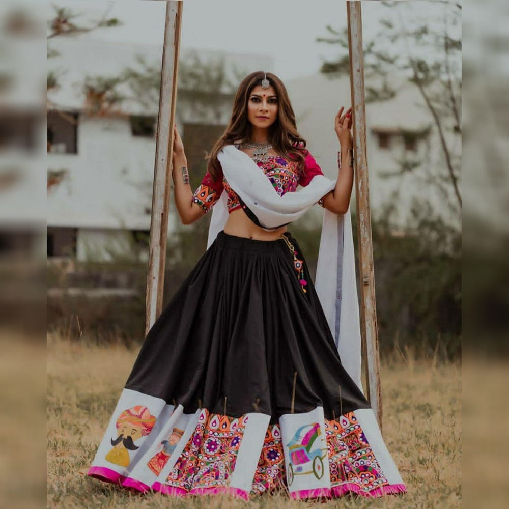 Pretty Black & Rani Crape Silk With Digital Print Lace New Lehenga Choli Design Online