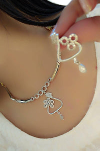 Lovely White Rodium American Diamond Artificial Necklace Set Online