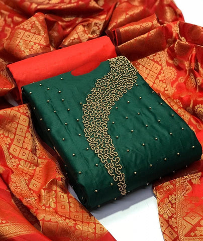 Gorgeous Dark Green chanderi Cotton With hand Work New Salwar suit Design Online