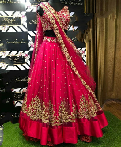 Fantastic Rani Net With Zari Embroidered Work New Lehenga Choli Design Online