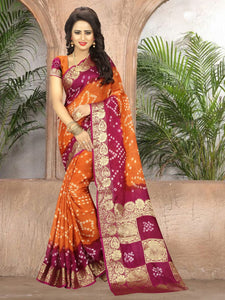 Comely Orange & Rani Art Silk Handicraft Bandhani Designer Fancy Saree Online
