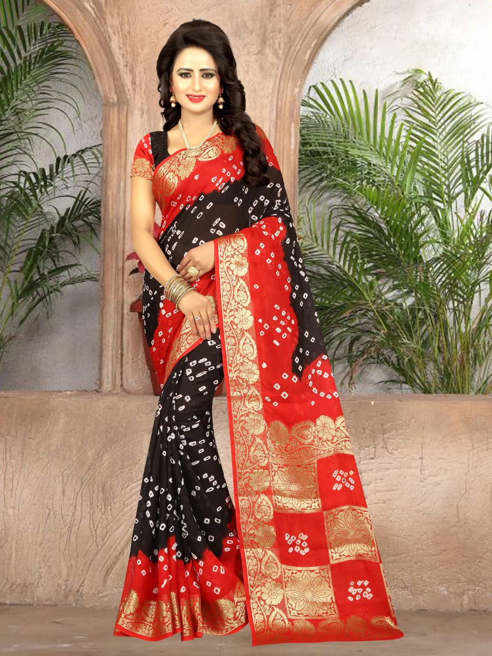 Pretty Black & Red Art Silk Handicraft Bandhani Designer Fancy Saree Online