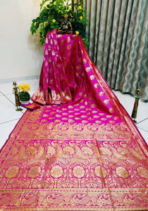 Devastating Rani Pure Cotton Silk Jacquard Designer Fancy Saree Online