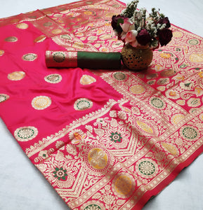 Pretty Pink Soft Silk With Weaving Designer Saree Online