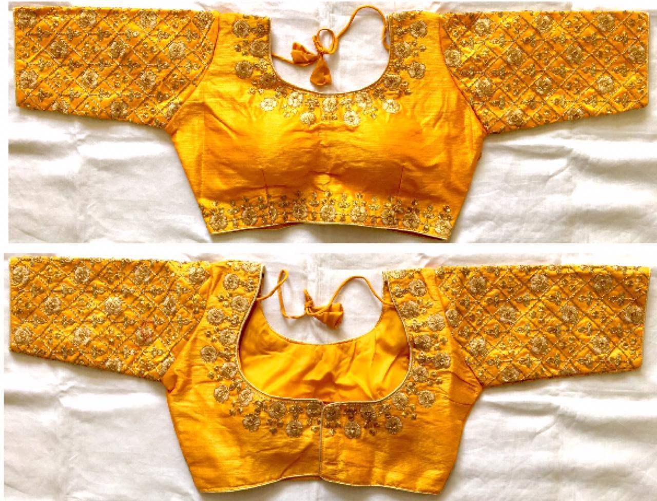 Remarkable Yellow Fentam Silk With Golden Work Ready Made Blouse