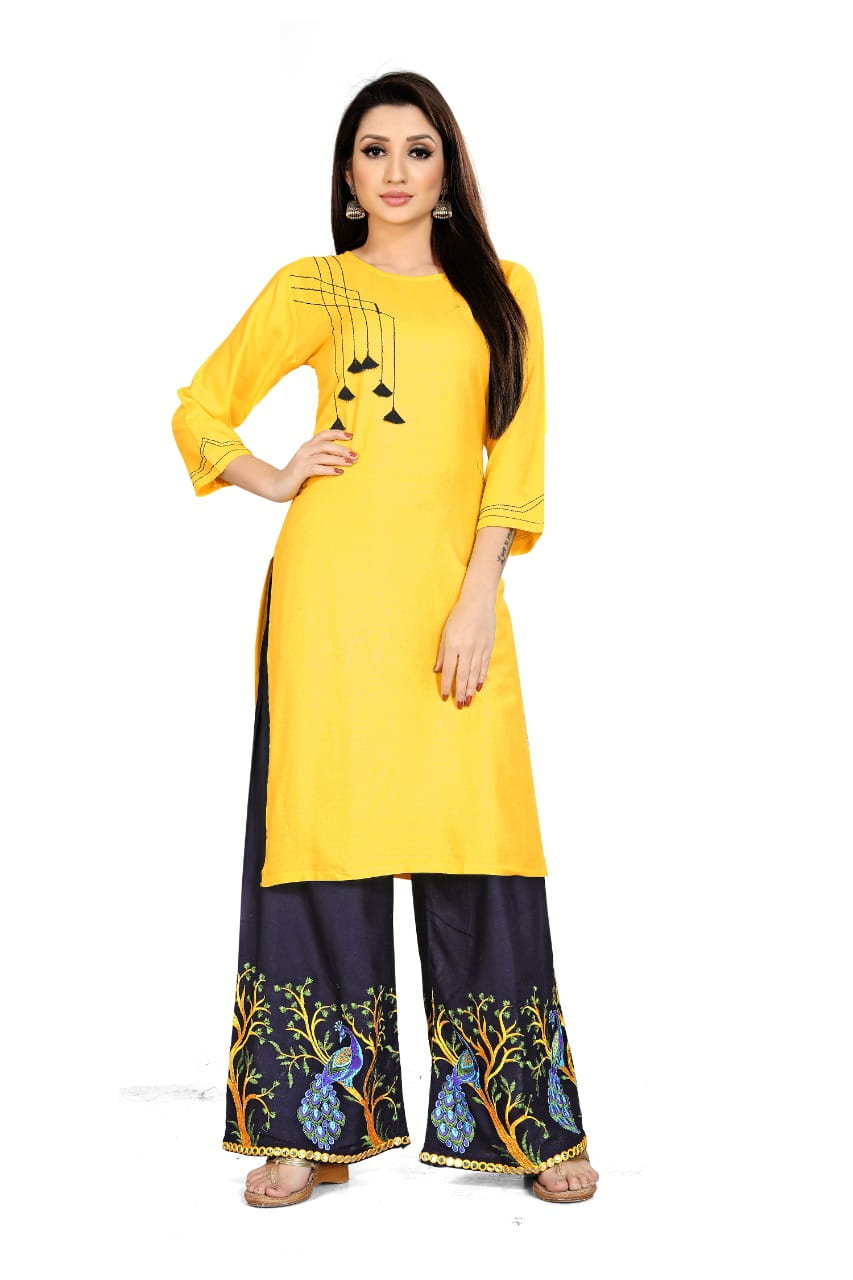 Glorious Yellow Rayon WIth Embroidered Aari Work Kurti & Plazo