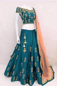 Devastating Rama Tapetta Silk With Embroidered Work Lehenga Choli
