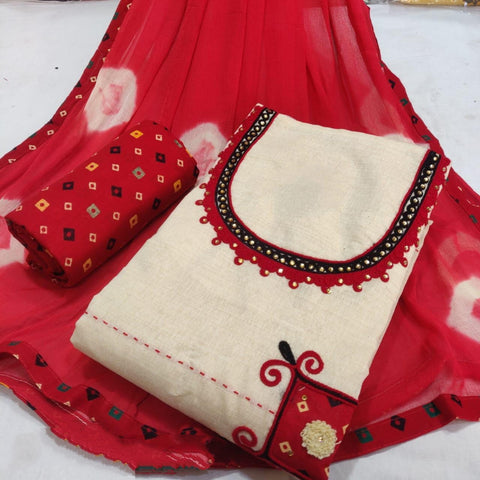 Gorgeous Red Cotton Printed New Salwar suit design online