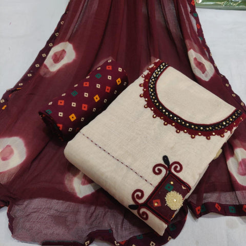 Knockout Maroon Cotton Printed New Salwar suit design online