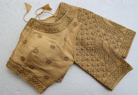 Pretty Golden Malbari Silk Zari Stone Hand Work fancy Neck Readymade Blouse