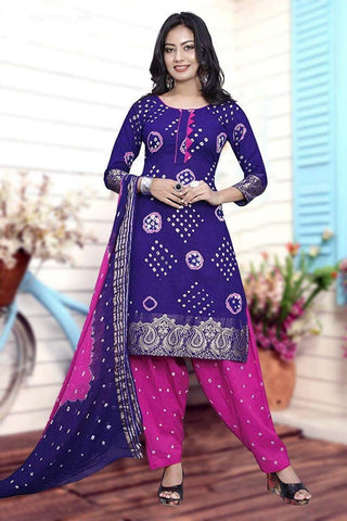Beauteous Purple & Pink Cotton Bandhani Jacquard Border New Salwar suit design online