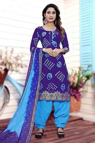 Pulchritudinous Purple & Sky Blue Cotton Bandhani Jacquard Border New Salwar suit design online