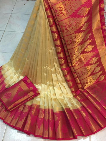 Outstanding Cream & Rani Nylon Silk With Rich Pallu fancy designer saree