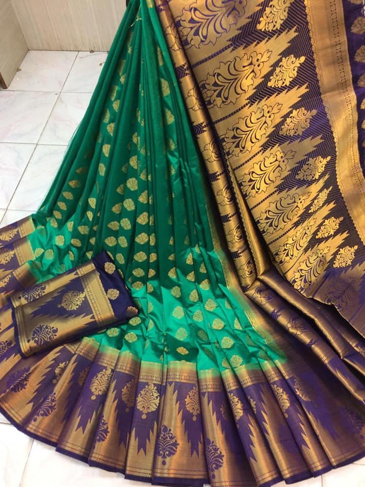 Imposing Rama Green Nylon Silk With Rich Pallu fancy designer saree