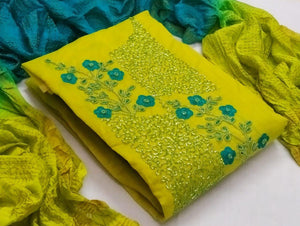 Alluring Yellow Cotton With Hand Work New Salwar suit design online