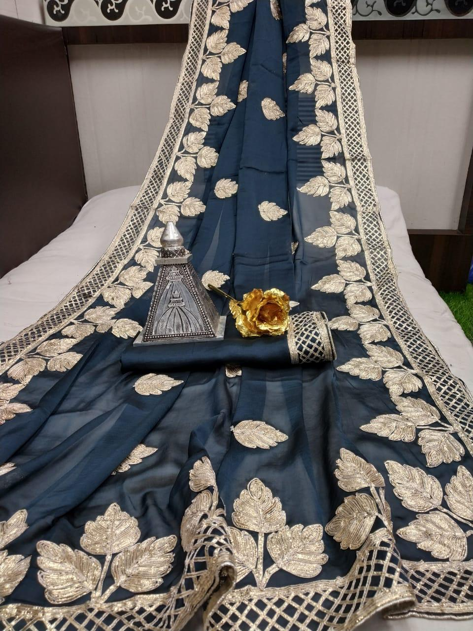 Outstanding Grey Silk With Gotta Silver Work fancy designer saree