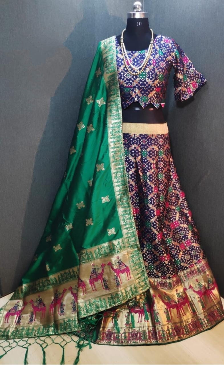 Tremendous Royal Blue Banarasi Weaving Padded Blouse Lehenga Choli Design Online