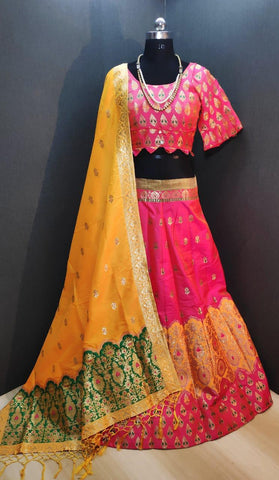 Good-Looking Pink & Mustard Banarasi Weaving Padded Blouse Lehenga Choli Design Online