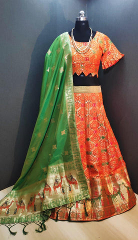 Comely Orange & Green Banarasi Weaving Padded Blouse Lehenga Choli Design Online