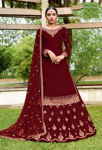 Ravishing Red Georgette With Embroidered Work Salwar Suit