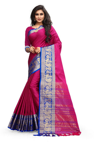 Glorious Rani Colored Poly Cotton With Rich Pallu Designer Saree