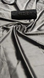 Gorgeous Grey Satin Silk Designer Saree With Sequence Work Blouse