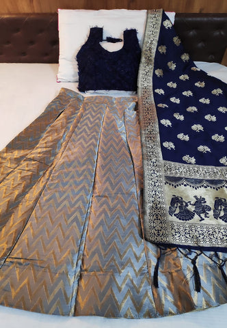 Impressive Grey & Royal Blue Banarasi Silk Designer Online Lehenga Choli Design