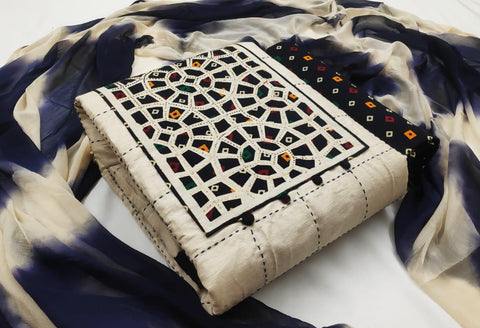Wonderful Cream & Navy Blue Cotton With Embroidered Work Salwar Suit