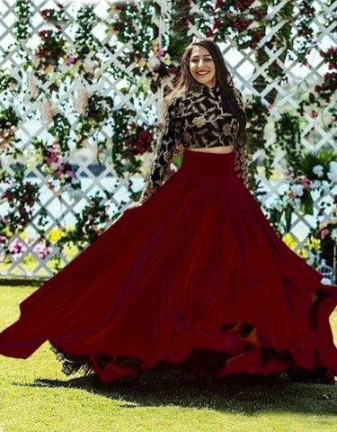 Wondrous Black & Maroon Banglori Silk With Embroidered Work Online Lehenga Choli Design
