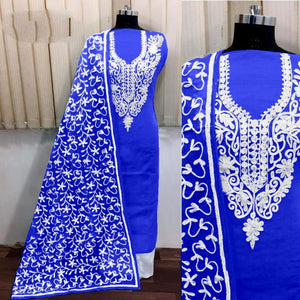 Striking Royal Blue Silk With Aari Work Salwar Suit