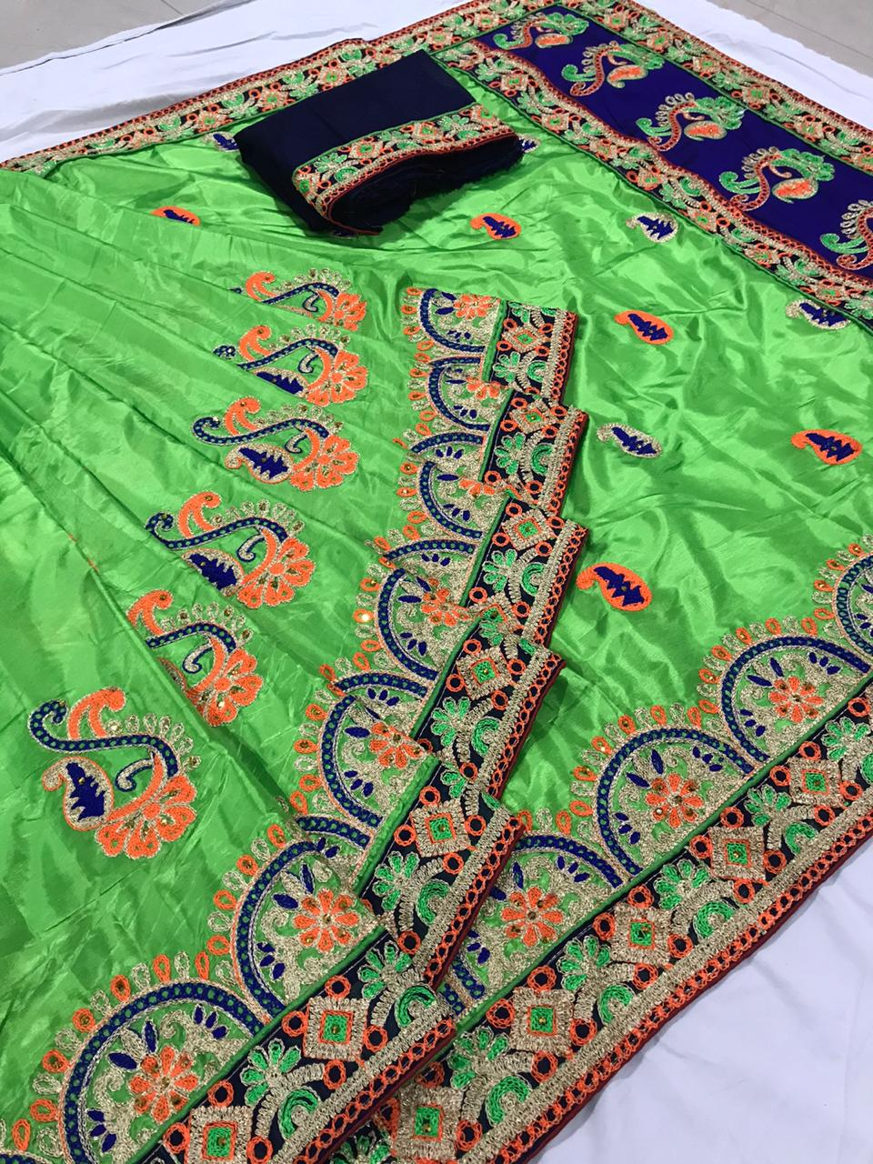 Gorgeous Green Silk With Embroidered Work Designer Saree