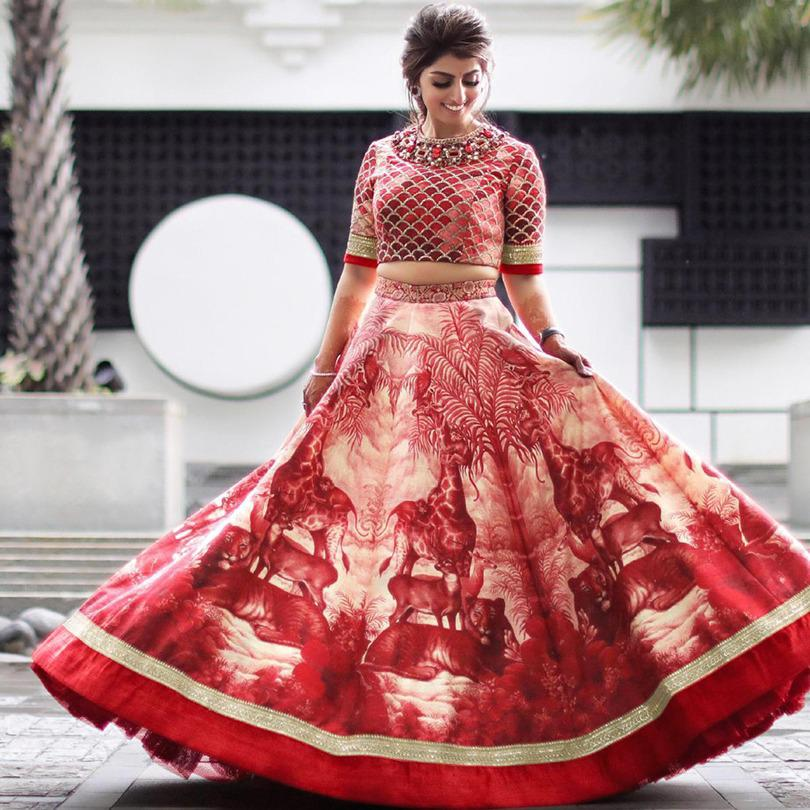 Amazing Red Satin Silk With Digital Embroidered Work Online Lehenga Choli Design