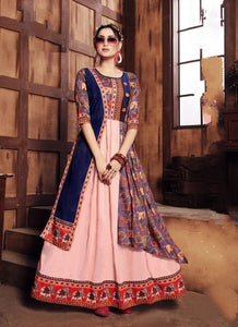 Lovely Peach & Royal Blue Rayon Digital Printed Gown for Women