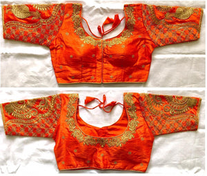 Pretty Orange Silk With Sequence Work Ready Made Blouse for Women