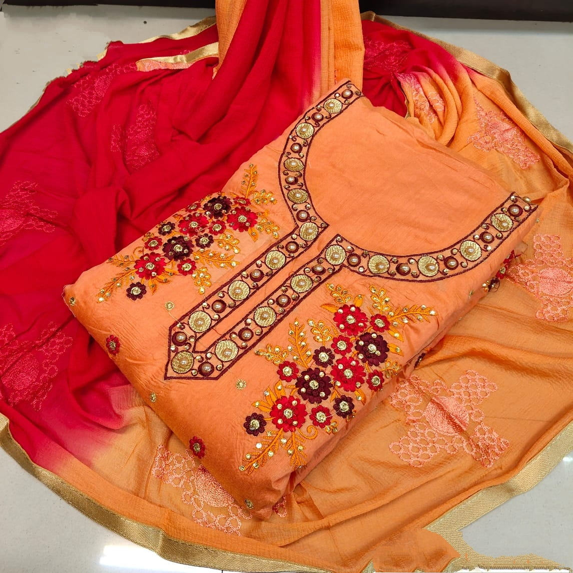 Super Fanta & Red Chanderi Cotton With Embroidered Work Salwar Suit for Women