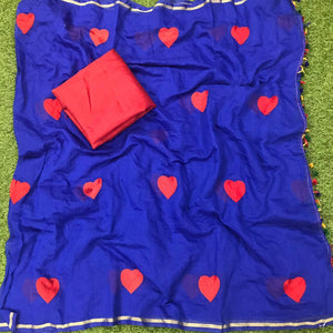 Magnificent Royal Blue Chanderi Silk With Embroidered Work Designer Saree for Women